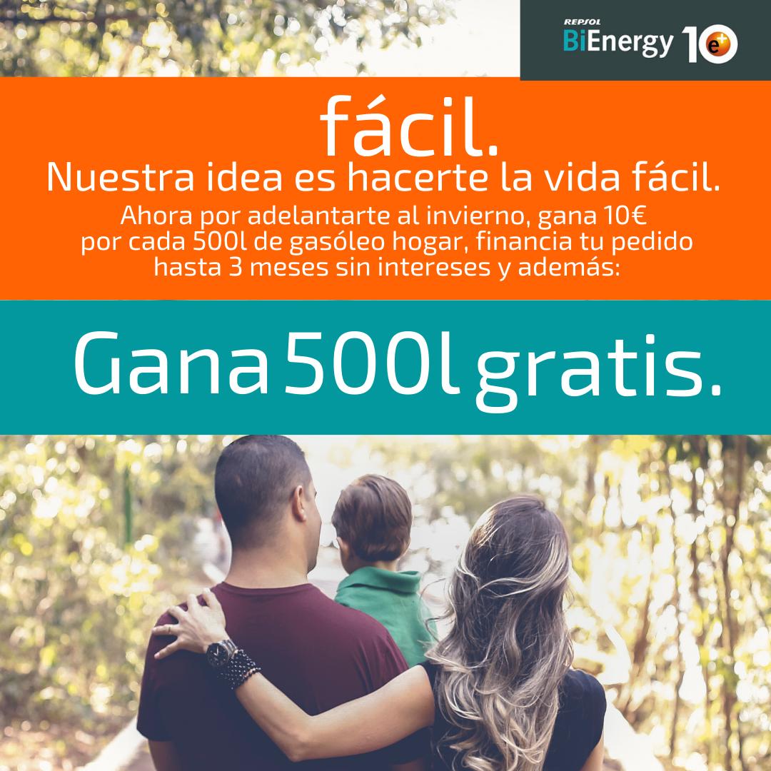 Por ser cliente de Energy Salas, puedes ganar hasta 500 litros de gasóleo BiEnergy e+10.